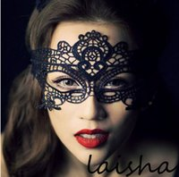 Wholesale hollow mask Fun Sexy costume Halloween Party masks Sexy black lace goggles nightclub queen play accessories