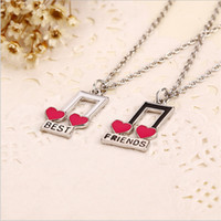 best silver paint - Hot Saleing Silver Color Painting Necklace Happy Best Friend Set Of Two Half a Person Necklace Music notation