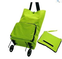 Cheap Wholesale-2015 New Folding Japanese household portable shopping trolley bags foldable oxford large capacity reusable bag on wheels for moms