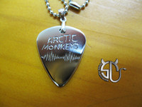 Wholesale stainless steel Handmade guitar pick necklace fashion logo arctic monkeys band for fans