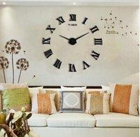 Wholesale promotion new home decor large roman mirror fashion modern Quartz clocks living room diy wall clock watch