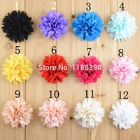 chevron fabric - Chevron Chiffon Flower Fabric Flower For Baby Girls Hair Accessories Headband Flowers WITHOUT Clips cm colors