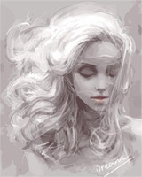 beautiful painting girl - Fashion X50cm Frameless DIY Digital Oil Canvas Painting White Beautiful Girl by Numbers Kits with Pigment Home Decor Wall Decor