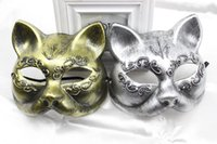 ans plastics - pieces New retro gold ans silver color plastic gatto mask Fancy cat woman mask Festive and party supplies