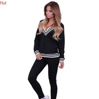 Wholesale Nice Pop Hoodies Spring Style Sweat Shirt Stripes Print Tracksuit Long Pants Hoodies V Neck Pullover Womens Set Sport Jogging Suits SV123828