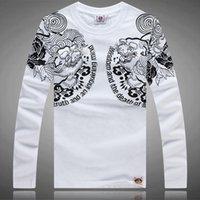 art design shirts - 2015 New Men s Printing T Shirts Men Casual Floral Tee Long Sleeve T Shirt Japan Blossom Ukiyoe Tattoo Art Design BRM Slim Fitted Hip Rock
