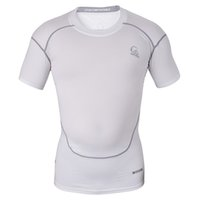 Wholesale Men s Short Sleeve Compression Tops Cool Skin Tights T Shirts White