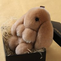 Wholesale Real Genuine Rex rabbit Furs Keychain Pendant Bag Car Charm Tag Cute Mini Rabbit Toy Doll Real Fur Keychains