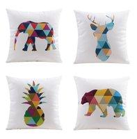 animal elk - Nordic Fashion Color Geometric Triangles Animals Cushion Covers Bear Deer Elk Stag Moose Elephant Pineapple Pillow Cover Velvet Pillowcase