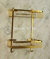 bathroom shower inserts - Wall Mounted Gold Polished Brass Bathroom Accessories Soap Sponge Body Wash Shower Dual Tier Storage Basket