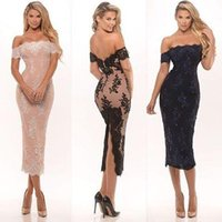 Wholesale Sexy Off The Shoulder Lace Cocktail Dress Tea Length Party Gowns With Applique Lace Pink Black Bridesmaid Gowns Cheap Sale Formal Dress