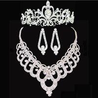 beaded yarn - Bridal tiaras crown High Quality Shining Beaded Crystals Wedding Crown Bridal necklace set Crown Headband Hair Accessories Party Tiara HT143