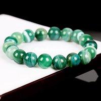 Puro rayas pulsera de ágata calcedonia verde natural con el cristal Onyx Sardonyx perlas joyas de ágata una generación