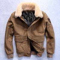 air free russian - Men Brown Air Force Flight Leather Jacket Wool Collar Genuine Cowhide Short Men Winter Aviator Russian Coat