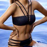 bandeau tie back bikini - New2 Pieces Strappy Bandeau Bikini Swimsuit Low Waist Bikini Triangle Fission Swimwear Sexy Tie Back Beach Bikini Suit