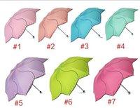flower umbrella - Black coating umbrella Women sunny and rainy umbrellas Three folding Flower design colors available Non automatic Adult size Drop shipping