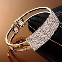 Wholesale Fashion Women Bangle Wristband Bracelet Crystal Cuff Bling Lady Gift Girls Wedding Korean Jewellery Colors ZJ16 b01