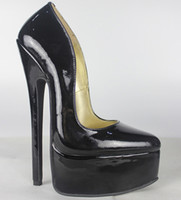 Wholesale New Full grain leather Genuine leather pump EXTREME high HEEL CM high heel with platform women lady shoes Sexy fetish high Heels sexy pump