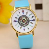 attractive clock - Attractive Womens Vine Indian Feather Dial Leather Quartz Analog Unique Wrist Watches Peacock Ladies Watch Clock AG11