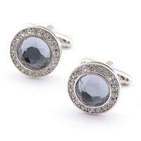 Wholesale Men Accessories Gray Crystal Dot Cufflinks Jewelry dozen Fashion Cufflinks for Men Fashion jewelry made in china Jewelry
