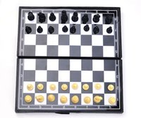 Wholesale The pre sale Plastic Large size Chess Checkers Chess board can Folded Portable Magnetic Educational toys Children game of Intelligence