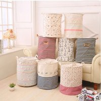 Wholesale Zakka Sizes The beam port Linen Multi function Handle Stackable storage barrel Laundry basket Toy Storage box