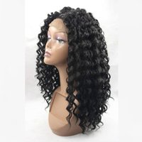 Wholesale Fashion Density Deep Wave Synthetic Lace Front Wigs High Quality Natural Black Heat Resistant Fiber Synthetic Wigs