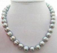 Mers du sud Prix-Noblest mer au sud naturel AAA baroque gris collier de perles 19 pouces fermoir en argent 925