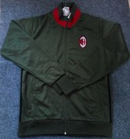 ac cotton - Benwon AC Milan deep green soccer jackets Adult s football full sleeve coats men s thai quality outdoor winter sportswear tracksuits