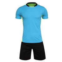 Cheap Wholesale-men's training short sleeve jersey breathable running sets sportswear soccer team football kits adult DIY logo good quality