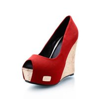 Women Wedges Spring and Fall women's waterproof high-heeled sandals Fish mouth thick bottom wedge shallow mouth