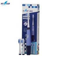 battery tooth brushes - Real New SEAGO Battery Operated Sonic Electric Toothbrush For Adults With Teeth Brush Heads Oral Care Dental Color Pink Blue SEAGO