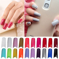 Wholesale 100pc Acrylic French False Nail Tips Colored False Nail Tip Nail Strips Decals Mix Color