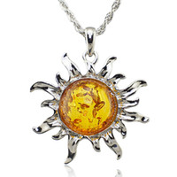 baltic honey amber - Fashion Hot Baltic Faux Amber Honey Sun Luckly Flossy Tibet Silver Pendant Necklace Jewelry L00301