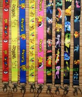 Wholesale New Poke Pocket Monster Pikachu Cell Phone Straps Cartoon Action Mobile Phone Lanyard Keychain ID Neck Strap