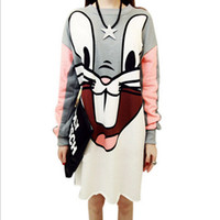 Wholesale New Fashion Women Long T Shirt Tops Cartoon Bunny Print Shirt Dress Long Sleeve T Shirts Casual Loose Kawaii Tees Ladies