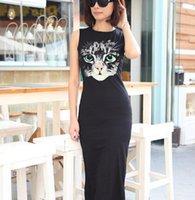 Cheap Summer Style Black 2016 Hot Casual Chiffon Sleeveless Dresses Cat Vest Women Clothing Sling Long Maxi Dress FU24