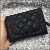 Wholesale 2016 ladysgenuine leather wallet zipped pocket wallet high quality lambskin or caviar leather good price