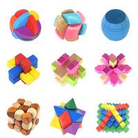 Wholesale 9 A Wood IntellectiveToys Puzzle Jigsaw Wooden Block Puzzle Toys Intelligence Development Toys For Over Years Kids P C