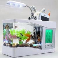 Wholesale Usb USB Mini Aquarium Aquarium fish lamp with creative calendar clock
