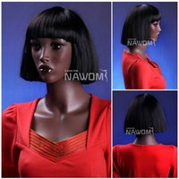 Cheap 3770 African female wigs BOBO hairpiece 100% Kanekalon material 11 inches black straight wigs hot sale
