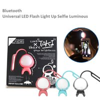 Wholesale universal bluetooth led flash light up selfie luminous lamp phone ring for iphone7 LG Samsung HTC LG android ios