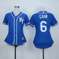 Jersey Femme # 6 Lorenzo Cain Maillot Bleu Gris Pour Femmes Lady Baseball Kansas City Royals # 4 Maillot Alex Gordon