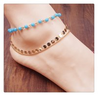 Wholesale Jewelry fashion girls bohemians Contracted multilayer Handmade beaded sequined naked chain anklets