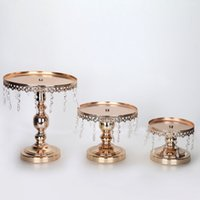baking suppliers - Cake stand metal iron crystal pendant cupcake stand wedding party decoration supplier baking pastry cake dessert tools color