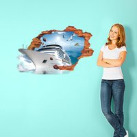 big fish wall art - 3D big ship sea fish Wall Stickers Art Wall Decals Removable Murals Nursery Decoration Home Docor Kitchen Tools