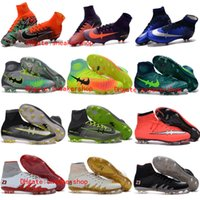 Wholesale 2017 mens new Original soccer cleats hypervenom phantom jr soccer shoes mercurial superfly cleats football boots cr7 soccer magista obra Red