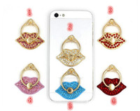 Wholesale 50pcs Sexy lip shape Luxury Degree Finger Ring Mobile Phone Smartphone Stand Holder For iPhone iPad for all Smart Phone