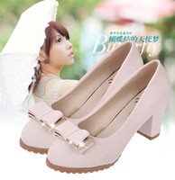 beige colored pumps - Sweet candy colored shoes with girls thick with shallow mouth of spring new bow set foot ol women shoes