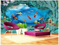 asia world - 3d wallpaper custom photo non woven mural undersea world nine fish swimming painting picture d wall room murals wallpaper